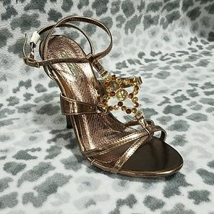 brown sheer sparkly shoes nwt